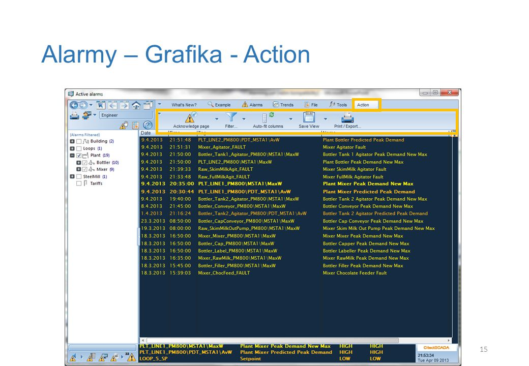 Alarmy – Grafika - Action 15