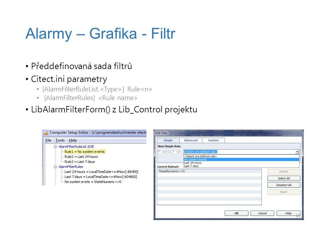 Předdefinovaná sada filtrů Citect.ini parametry [AlarmFilterRuleList.