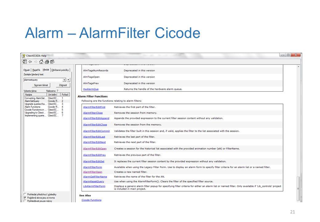 Alarm – AlarmFilter Cicode 21