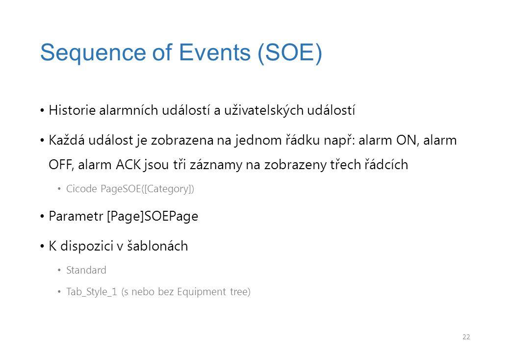 Historie alarmních událostí a uživatelských událostí Každá událost je zobrazena na jednom řádku např: alarm ON, alarm OFF, alarm ACK jsou tři záznamy na zobrazeny třech řádcích Cicode PageSOE([Category]) Parametr [Page]SOEPage K dispozici v šablonách Standard Tab_Style_1 (s nebo bez Equipment tree) Sequence of Events (SOE) 22