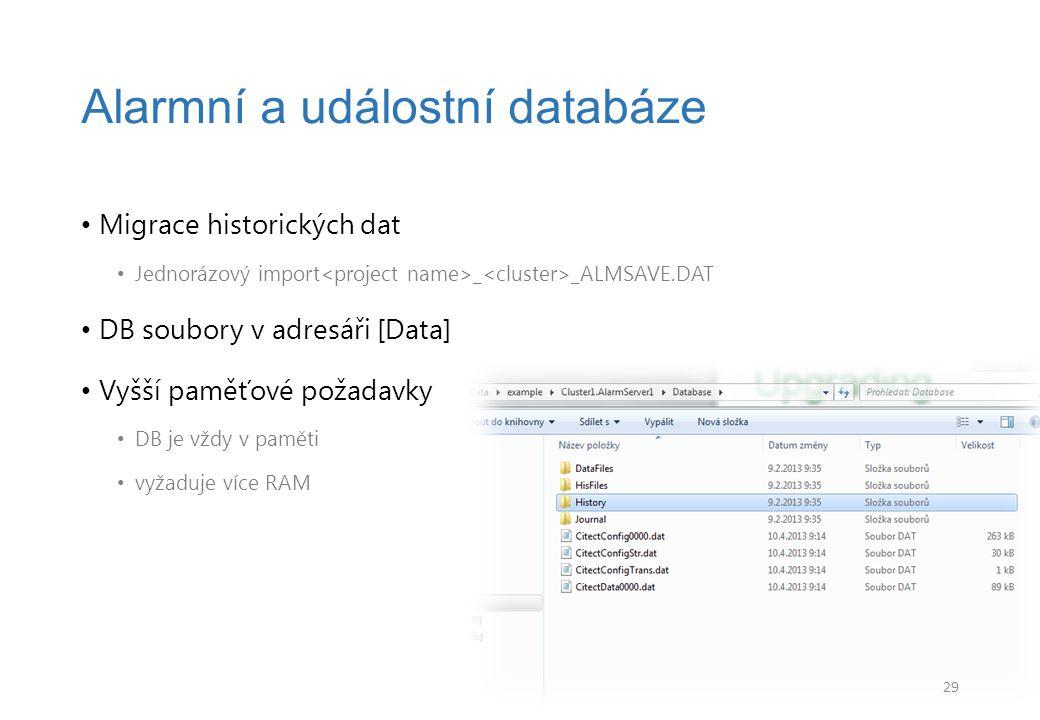Migrace historických dat Jednorázový import _ _ALMSAVE.DAT DB soubory v adresáři [Data] Vyšší paměťové požadavky DB je vždy v paměti vyžaduje více RAM Alarmní a událostní databáze 29