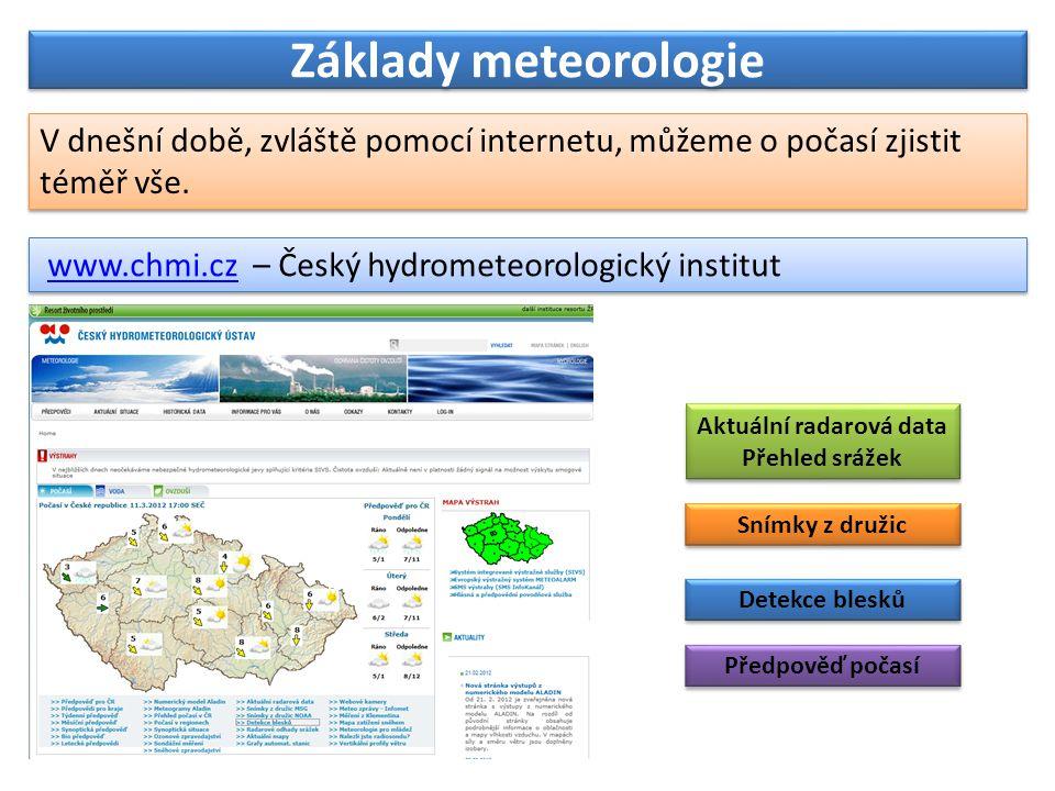 Základy meteorologie V dnešní době, zvláště pomocí internetu, můžeme o počasí zjistit téměř vše.
