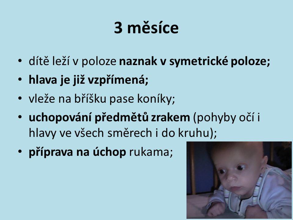 3 měsíce dítě leží v poloze naznak v symetrické poloze; hlava je již vzpřímená; vleže na bříšku pase koníky; uchopování předmětů zrakem (pohyby očí i