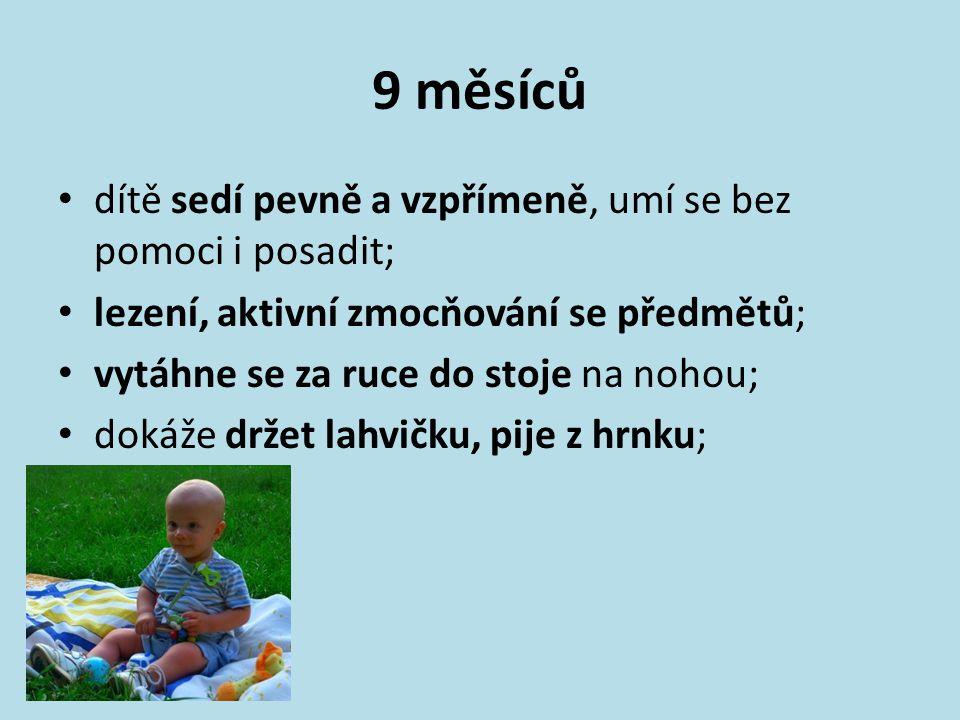 9 měsíců dítě sedí pevně a vzpřímeně, umí se bez pomoci i posadit; lezení, aktivní zmocňování se předmětů; vytáhne se za ruce do stoje na nohou; dokáž