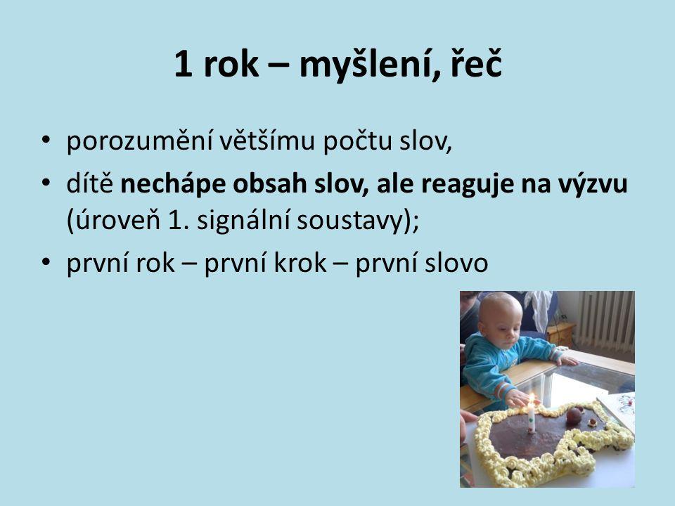 1 rok – myšlení, řeč porozumění většímu počtu slov, dítě nechápe obsah slov, ale reaguje na výzvu (úroveň 1. signální soustavy); první rok – první kro