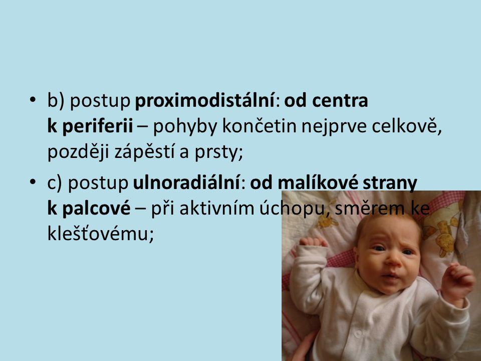 b) postup proximodistální: od centra k periferii – pohyby končetin nejprve celkově, později zápěstí a prsty; c) postup ulnoradiální: od malíkové stran
