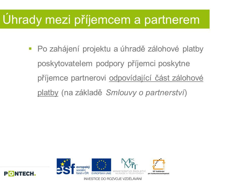 Úhrady mezi příjemcem a partnerem  Po zahájení projektu a úhradě zálohové platby poskytovatelem podpory příjemci poskytne příjemce partnerovi odpovíd