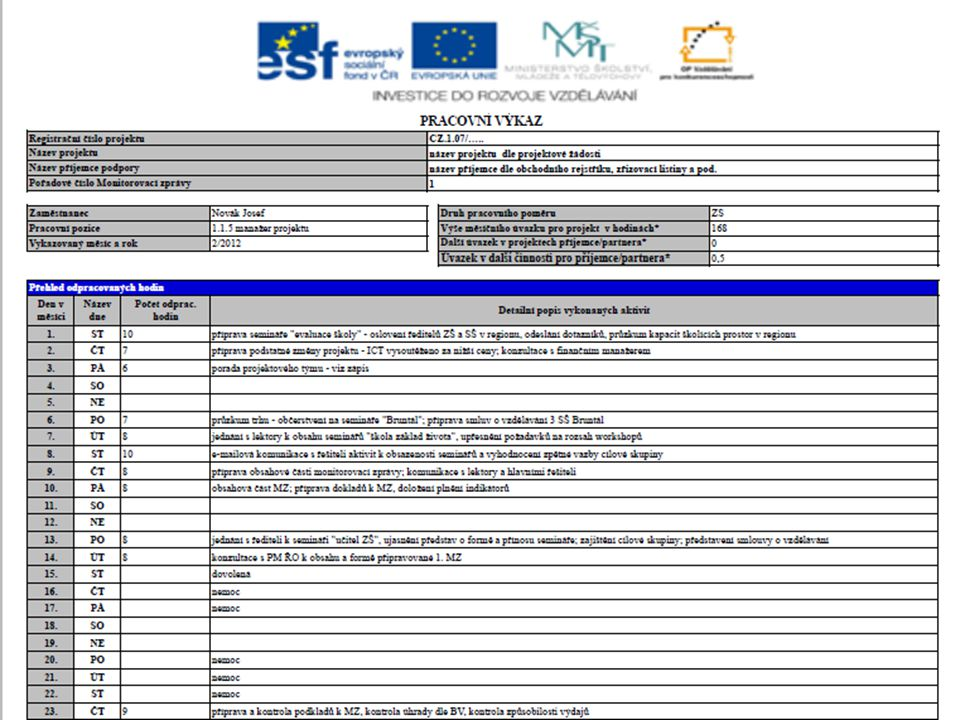 Pravidla realizace a podklady pro monitorovací zprávy 28