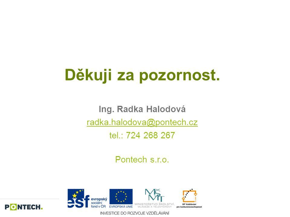 Děkuji za pozornost. Ing. Radka Halodová radka.halodova@pontech.cz tel.: 724 268 267 Pontech s.r.o.