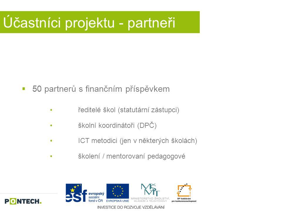 Účastníci projektu - partneři  50 partnerů s finančním příspěvkem ředitelé škol (statutární zástupci) školní koordinátoři (DPČ) ICT metodici (jen v n