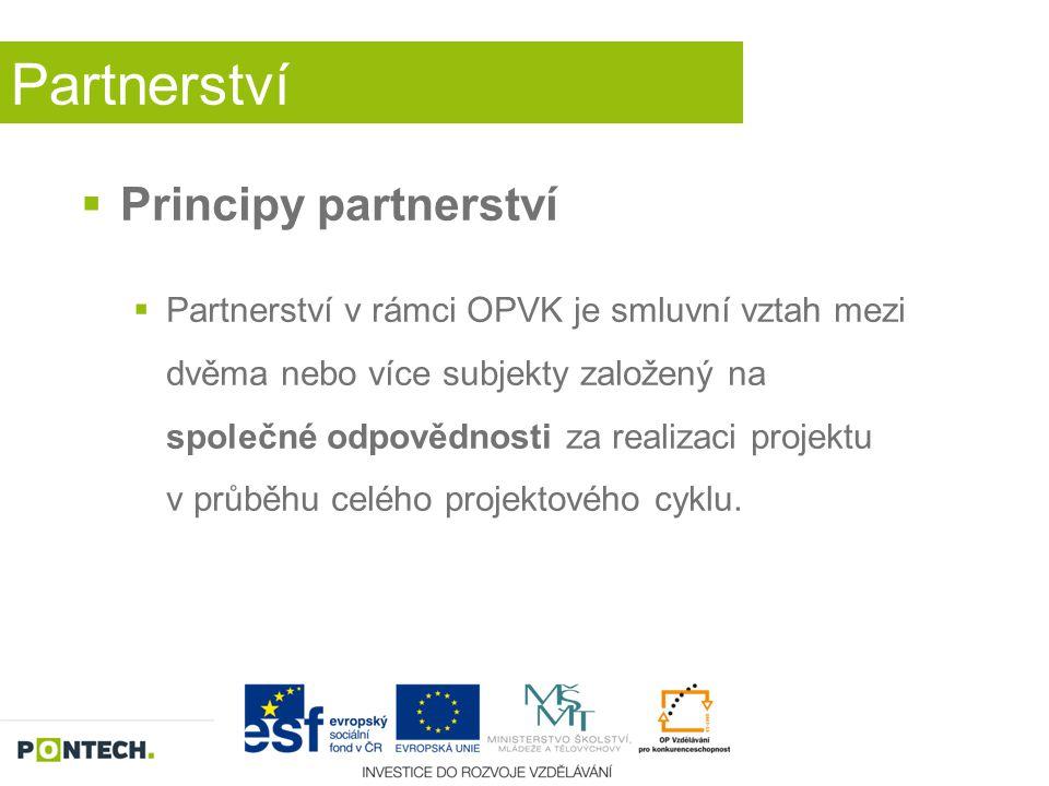 Partnerství  Principy partnerství Partneři se společně podílejí na přípravě a realizaci projektu ve fázi:  zpracování projektové žádosti  realizace projektu  ukončení projektu.