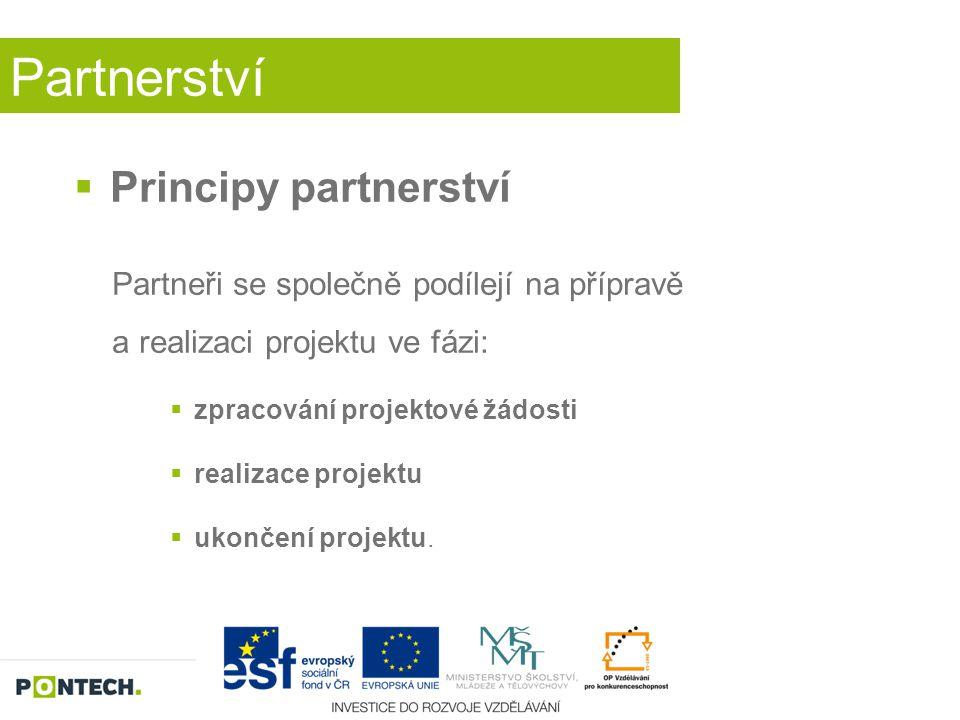 Partnerství  Principy partnerství Partneři se společně podílejí na přípravě a realizaci projektu ve fázi:  zpracování projektové žádosti  realizace