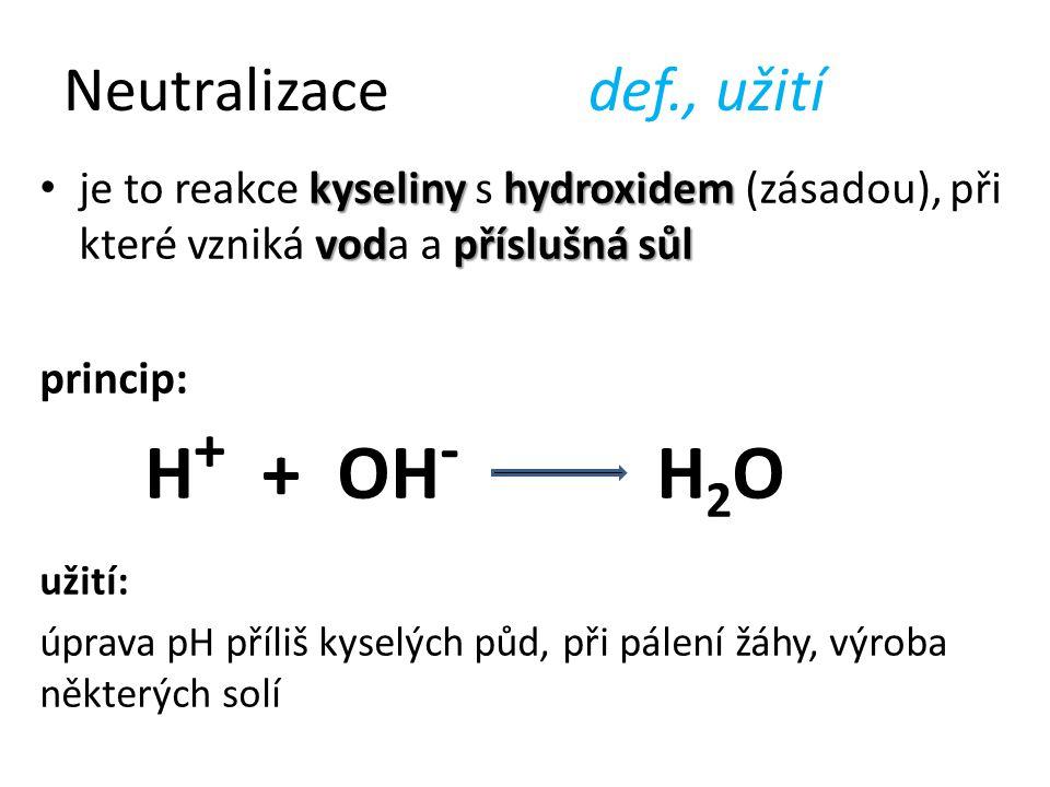 Neutralizacedef., užití kyselinyhydroxidem vodpříslušná sůl je to reakce kyseliny s hydroxidem (zásadou), při které vzniká voda a příslušná sůl princi