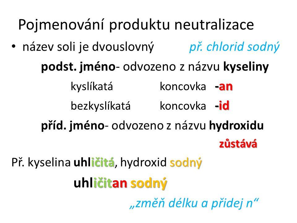 Pojmenování produktu neutralizace název soli je dvouslovný př. chlorid sodný podst. jméno- odvozeno z názvu kyseliny -an kyslíkatá koncovka -an -id be