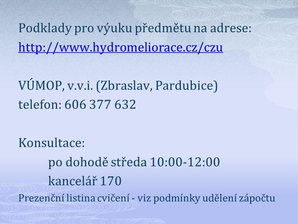 Podklady pro výuku předmětu na adrese: http://www.hydromeliorace.cz/czu VÚMOP, v.v.i.