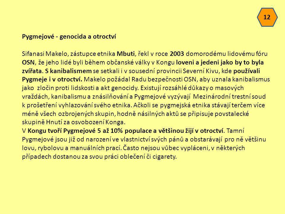 Pygmejové - genocida a otroctví Sifanasi Makelo, zástupce etnika Mbuti, řekl v roce 2003 domorodému lidovému fóru OSN, že jeho lidé byli během občansk