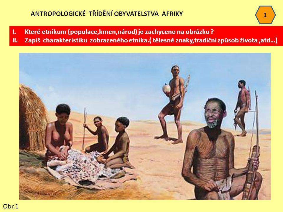 1 ANTROPOLOGICKÉ TŘÍDĚNÍ OBYVATELSTVA AFRIKY I.Které etnikum (populace,kmen,národ) je zachyceno na obrázku ? II.Zapiš charakteristiku zobrazeného etni