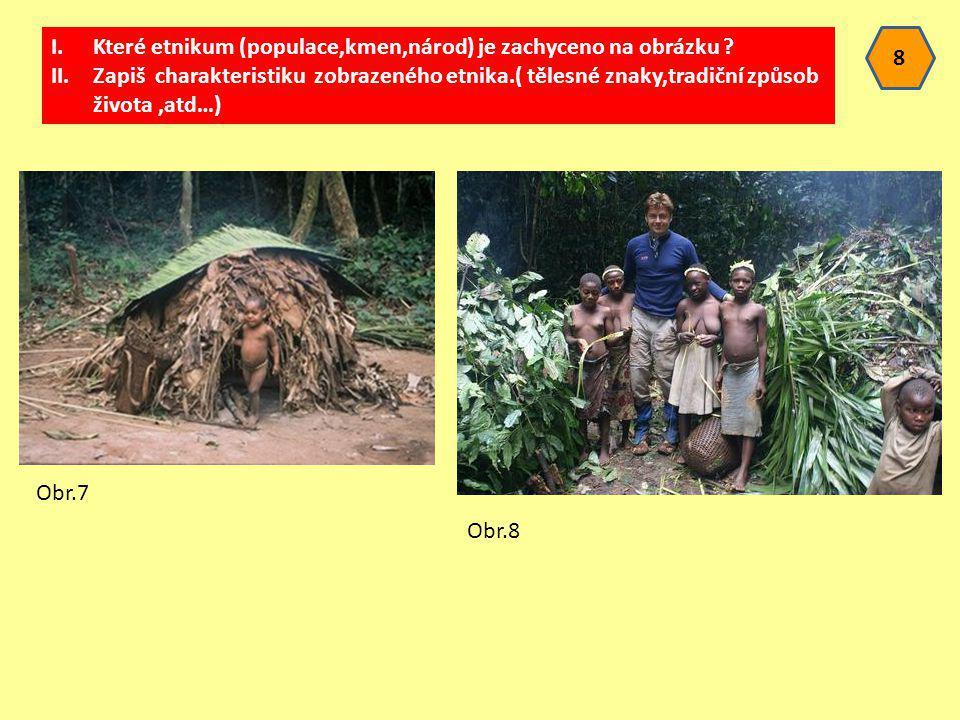 8 I.Které etnikum (populace,kmen,národ) je zachyceno na obrázku ? II.Zapiš charakteristiku zobrazeného etnika.( tělesné znaky,tradiční způsob života,a
