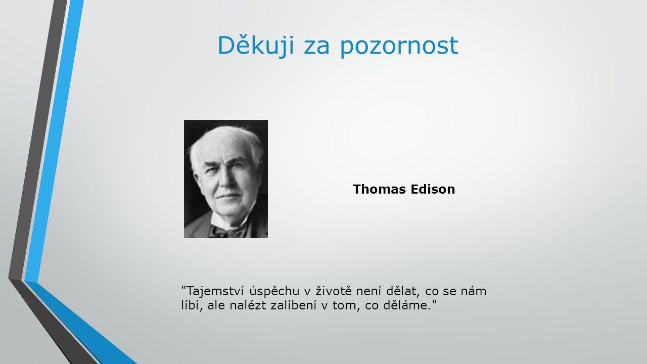 Děkuji za pozornost Tajemství úspěchu v životě není dělat, co se nám líbí, ale nalézt zalíbení v tom, co děláme. Thomas Edison
