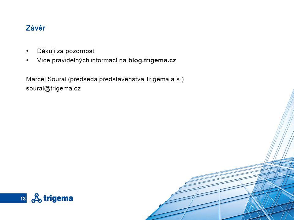 Závěr Děkuji za pozornost Více pravidelných informací na blog.trigema.cz Marcel Soural (předseda představenstva Trigema a.s.) soural@trigema.cz 13