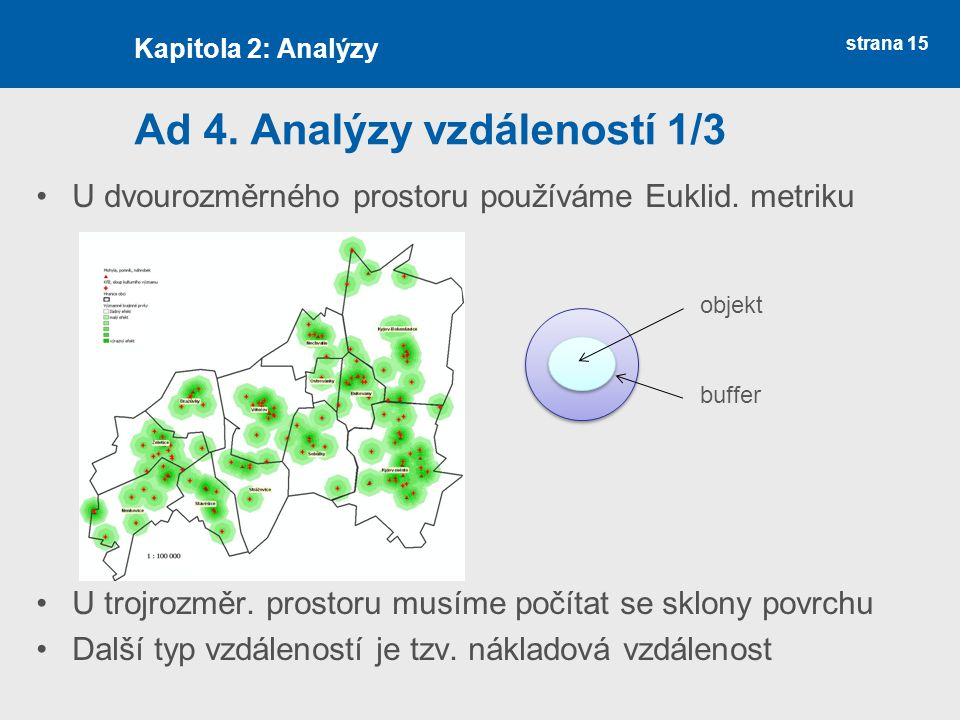 strana 15 Ad 4. Analýzy vzdáleností 1/3 U dvourozměrného prostoru používáme Euklid.