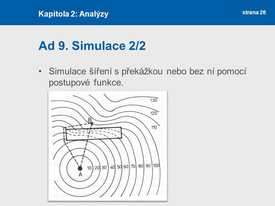 strana 26 Ad 9. Simulace 2/2 Simulace šíření s překážkou nebo bez ní pomocí postupové funkce.