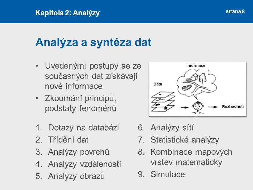 strana 8 Analýza a syntéza dat Uvedenými postupy se ze současných dat získávají nové informace Zkoumání principů, podstaty fenoménů Kapitola 2: Analýzy 1.Dotazy na databázi 2.Třídění dat 3.Analýzy povrchů 4.Analýzy vzdáleností 5.Analýzy obrazů 6.Analýzy sítí 7.Statistické analýzy 8.Kombinace mapových vrstev matematicky 9.Simulace