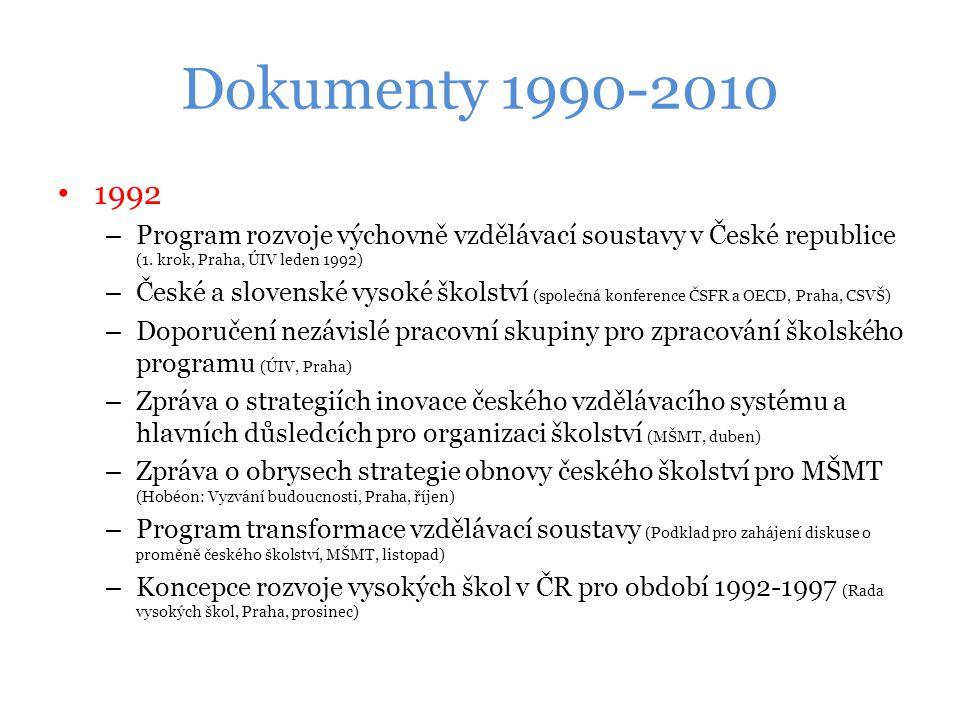 Dokumenty 1990-2010 1992 – Program rozvoje výchovně vzdělávací soustavy v České republice (1.