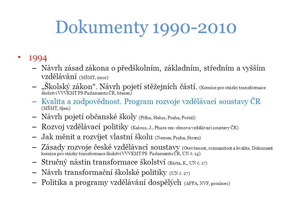 """Dokumenty 1990-2010 1994 – Návrh zásad zákona o předškolním, základním, středním a vyšším vzdělávání (MŠMT, únor) – """"Školský zákon ."""