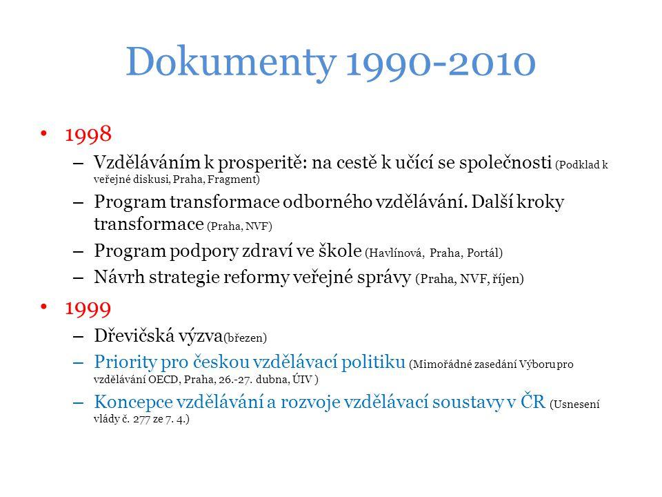 Dokumenty 1990-2010 1998 – Vzděláváním k prosperitě: na cestě k učící se společnosti (Podklad k veřejné diskusi, Praha, Fragment) – Program transformace odborného vzdělávání.