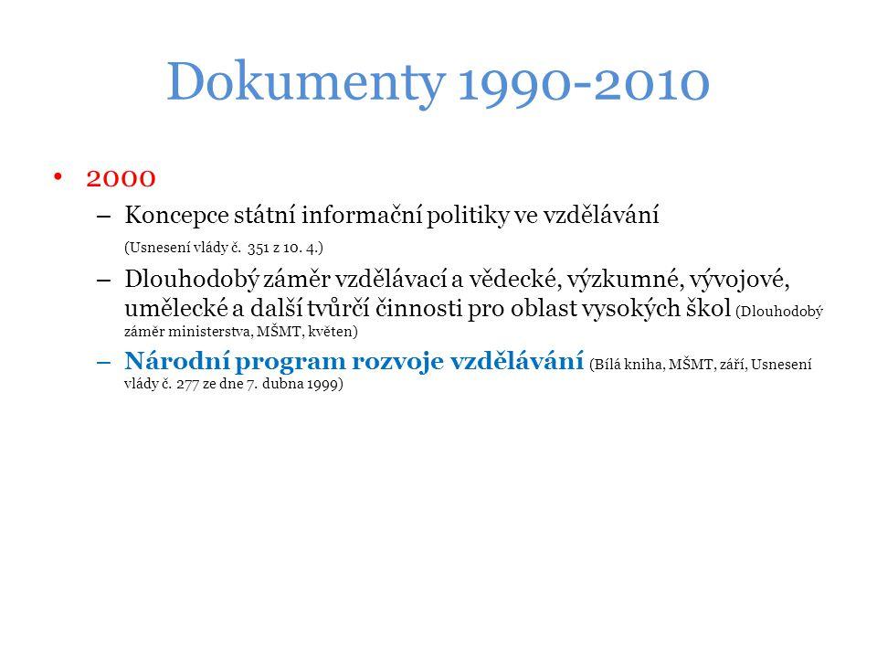 Dokumenty 1990-2010 2000 – Koncepce státní informační politiky ve vzdělávání (Usnesení vlády č.