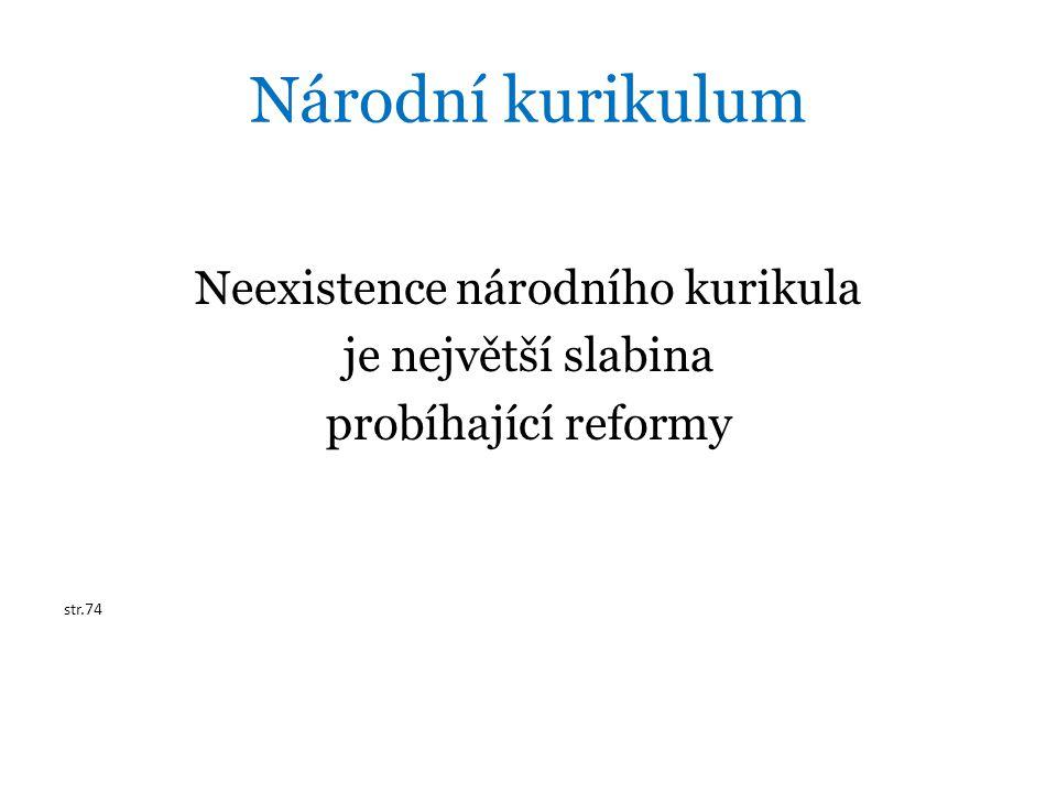 Národní kurikulum Neexistence národního kurikula je největší slabina probíhající reformy str.74