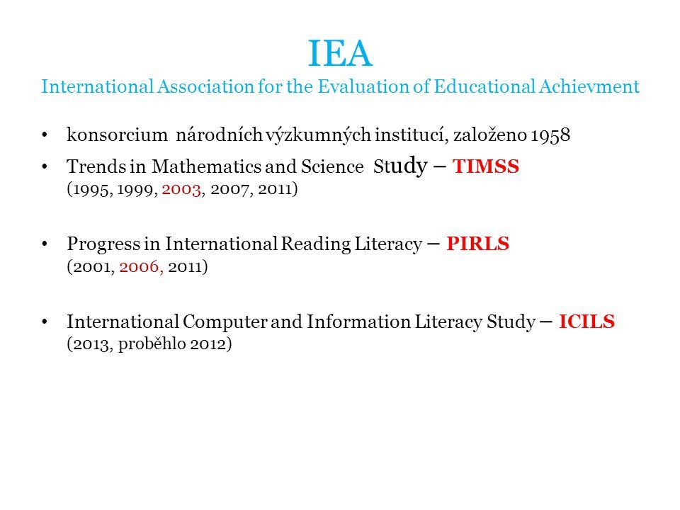IEA International Association for the Evaluation of Educational Achievment konsorcium národních výzkumných institucí, založeno 1958 Trends in Mathematics and Science St udy – TIMSS (1995, 1999, 2003, 2007, 2011) Progress in International Reading Literacy – PIRLS (2001, 2006, 2011) International Computer and Information Literacy Study – ICILS (2013, proběhlo 2012)