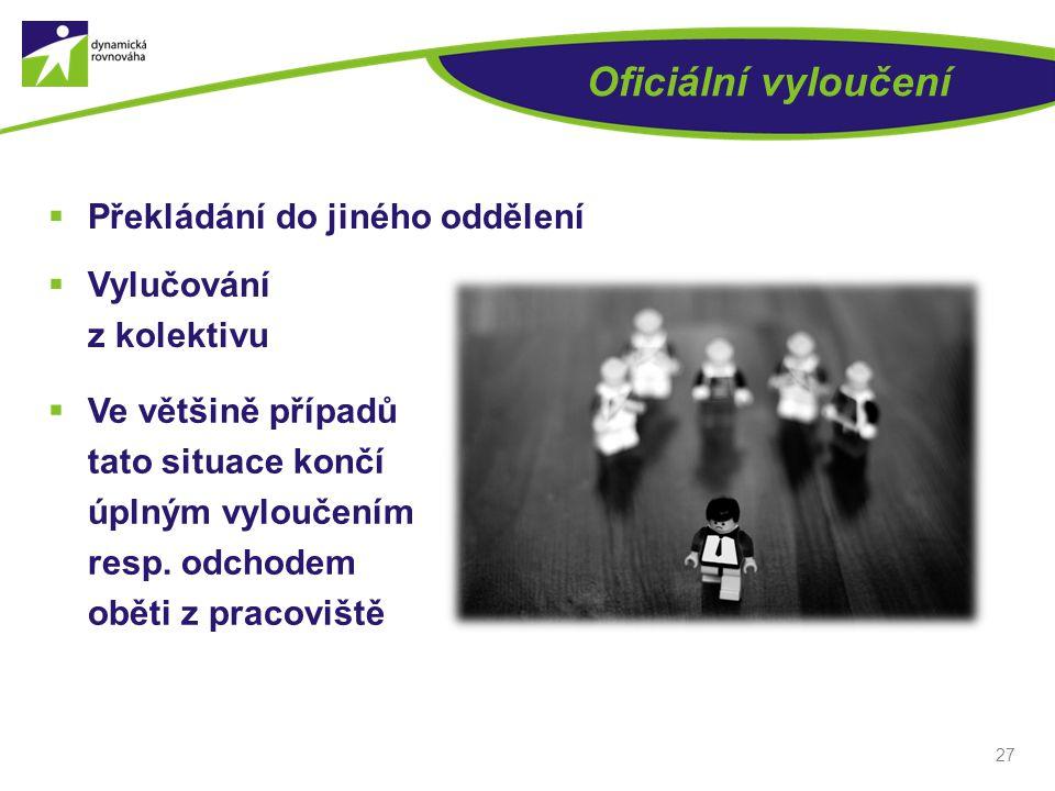 Oficiální vyloučení  Překládání do jiného oddělení  Vylučování z kolektivu 27  Ve většině případů tato situace končí úplným vyloučením resp. odchod