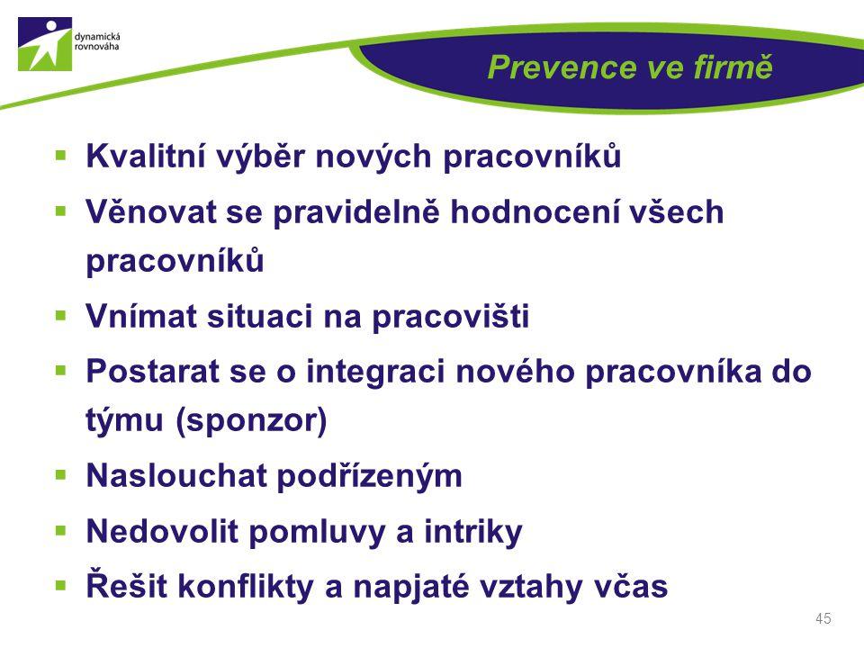 45 Prevence ve firmě  Kvalitní výběr nových pracovníků  Věnovat se pravidelně hodnocení všech pracovníků  Vnímat situaci na pracovišti  Postarat s