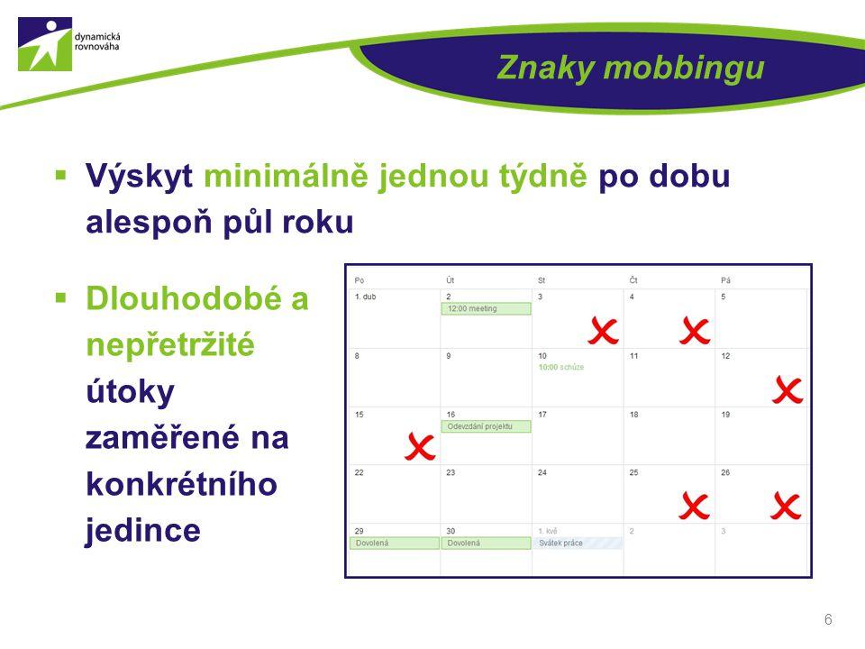 6 Znaky mobbingu  Výskyt minimálně jednou týdně po dobu alespoň půl roku  Dlouhodobé a nepřetržité útoky zaměřené na konkrétního jedince