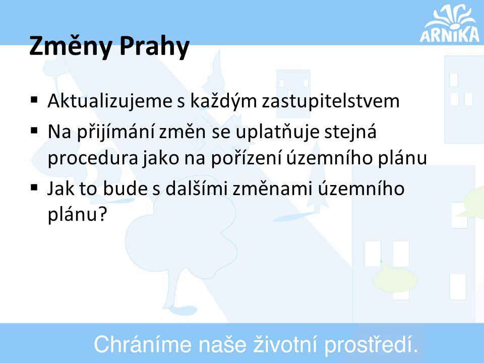 Změny Prahy  Aktualizujeme s každým zastupitelstvem  Na přijímání změn se uplatňuje stejná procedura jako na pořízení územního plánu  Jak to bude s dalšími změnami územního plánu?