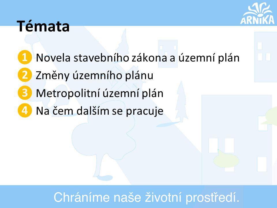 Témata ❶ Novela stavebního zákona a územní plán ❷ Změny územního plánu ❸ Metropolitní územní plán ❹ Na čem dalším se pracuje