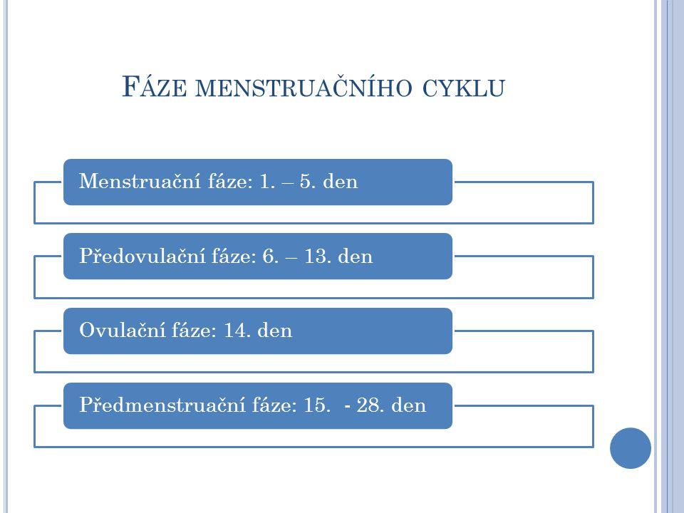 F ÁZE MENSTRUAČNÍHO CYKLU Menstruační fáze: 1. – 5. denPředovulační fáze: 6. – 13. denOvulační fáze: 14. denPředmenstruační fáze: 15. - 28. den