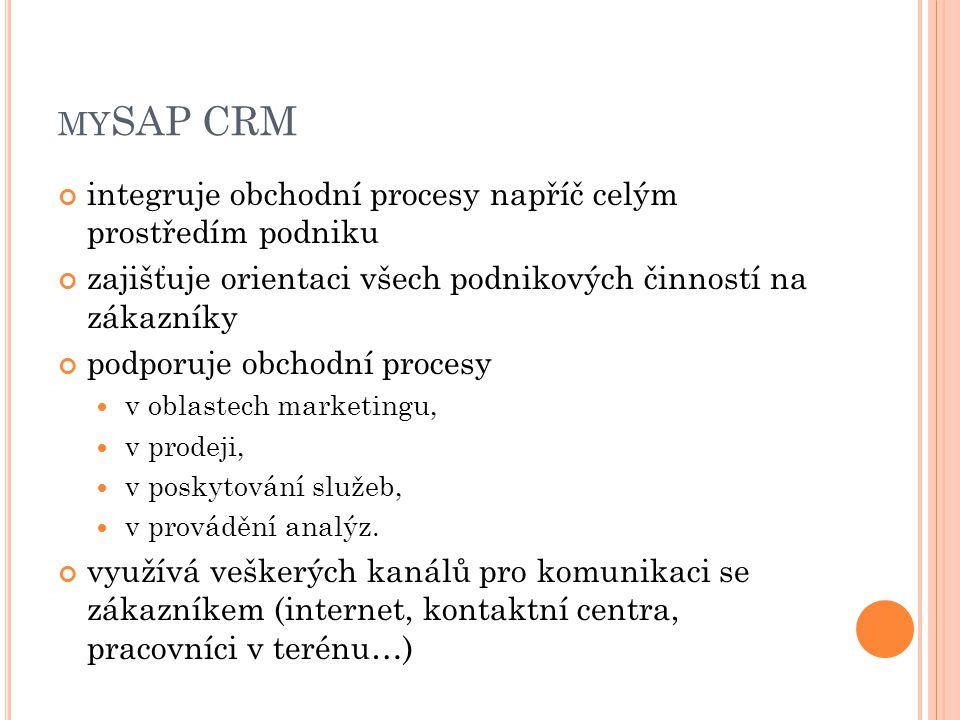 MY SAP CRM integruje obchodní procesy napříč celým prostředím podniku zajišťuje orientaci všech podnikových činností na zákazníky podporuje obchodní procesy v oblastech marketingu, v prodeji, v poskytování služeb, v provádění analýz.