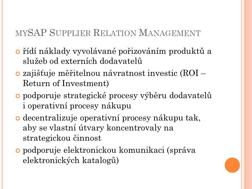 MY SAP S UPPLIER R ELATION M ANAGEMENT řídí náklady vyvolávané pořizováním produktů a služeb od externích dodavatelů zajišťuje měřitelnou návratnost investic (ROI – Return of Investment) podporuje strategické procesy výběru dodavatelů i operativní procesy nákupu decentralizuje operativní procesy nákupu tak, aby se vlastní útvary koncentrovaly na strategickou činnost podporuje elektronickou komunikaci (správa elektronických katalogů)