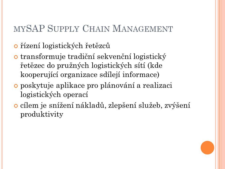 MY SAP S UPPLY C HAIN M ANAGEMENT řízení logistických řetězců transformuje tradiční sekvenční logistický řetězec do pružných logistických sítí (kde kooperující organizace sdílejí informace) poskytuje aplikace pro plánování a realizaci logistických operací cílem je snížení nákladů, zlepšení služeb, zvýšení produktivity