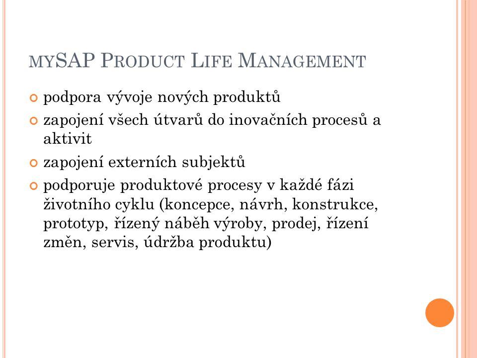 MY SAP P RODUCT L IFE M ANAGEMENT podpora vývoje nových produktů zapojení všech útvarů do inovačních procesů a aktivit zapojení externích subjektů podporuje produktové procesy v každé fázi životního cyklu (koncepce, návrh, konstrukce, prototyp, řízený náběh výroby, prodej, řízení změn, servis, údržba produktu)