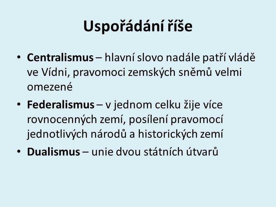 Uspořádání říše Centralismus – hlavní slovo nadále patří vládě ve Vídni, pravomoci zemských sněmů velmi omezené Federalismus – v jednom celku žije víc
