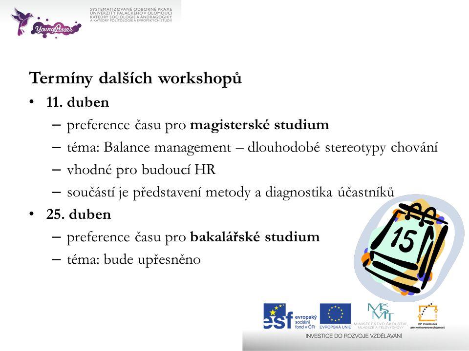 Termíny dalších workshopů 11.