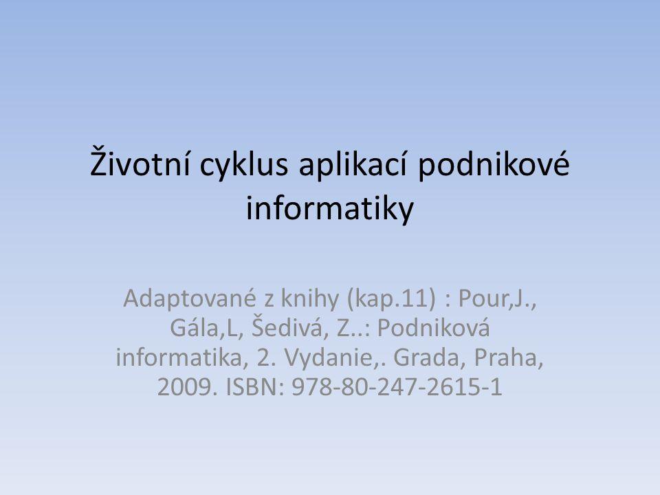 Životní cyklus aplikací podnikové informatiky Adaptované z knihy (kap.11) : Pour,J., Gála,L, Šedivá, Z..: Podniková informatika, 2. Vydanie,. Grada, P