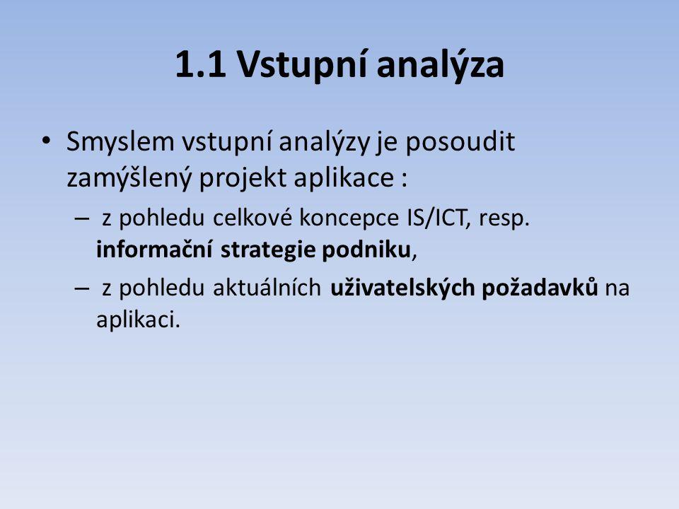 1.1 Vstupní analýza Smyslem vstupní analýzy je posoudit zamýšlený projekt aplikace : – z pohledu celkové koncepce IS/ICT, resp. informační strategie p