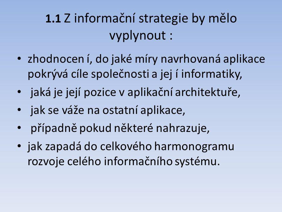 1.1 Z informační strategie by mělo vyplynout : zhodnocen í, do jaké míry navrhovaná aplikace pokrývá cíle společnosti a jej í informatiky, jaká je jej