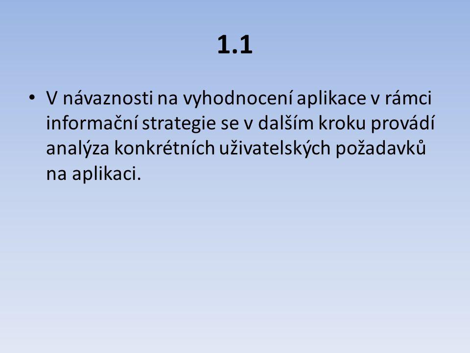 1.1 V návaznosti na vyhodnocení aplikace v rámci informační strategie se v dalším kroku provádí analýza konkrétních uživatelských požadavků na aplikac