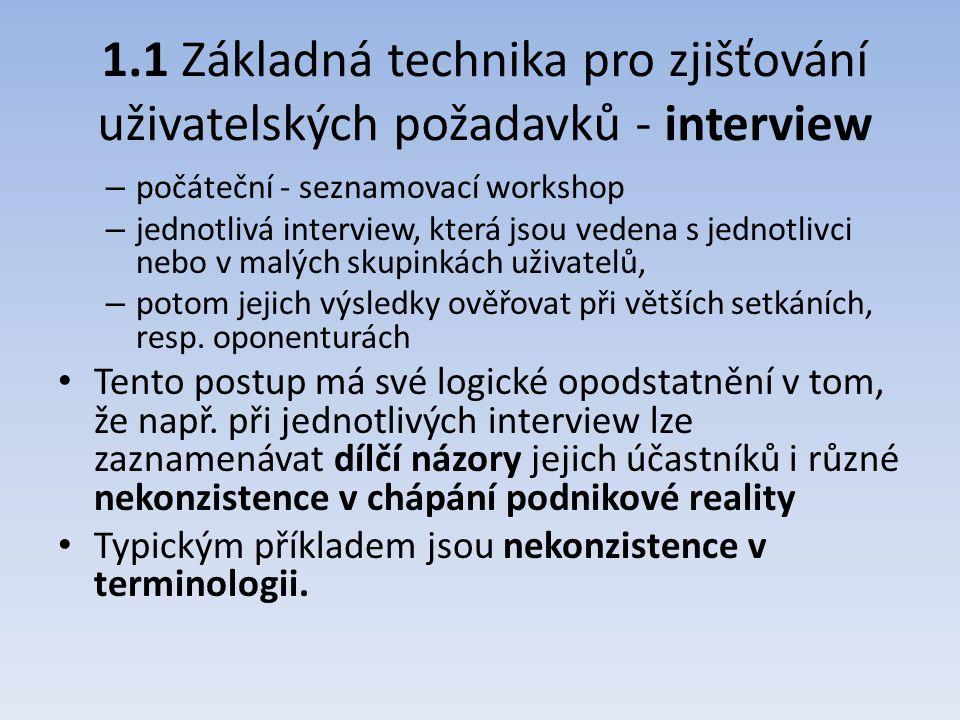 1.1 Základná technika pro zjišťování uživatelských požadavků - interview – počáteční - seznamovací workshop – jednotlivá interview, která jsou vedena